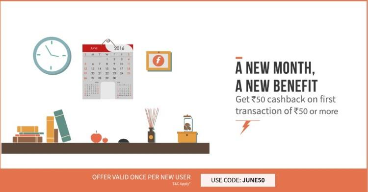 Freecharge June Coupons - 50 Cashback on Recharge of 50