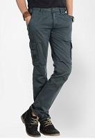 Basics Solid Dark Grey Slim Fit Cargo