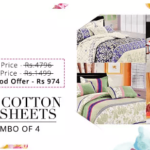 Paytm Cotton bedsheets combo of 4 at Rs 974