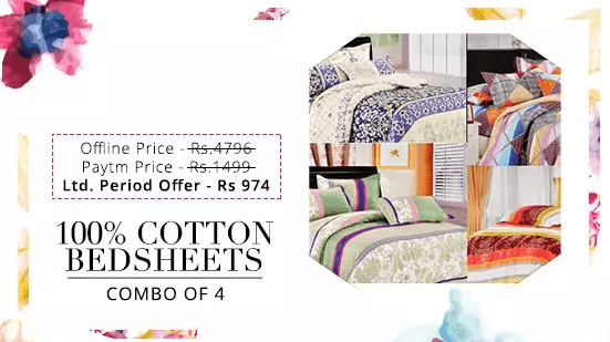 Paytm cotton bedsheets combo