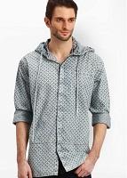 R&C Printed Grey Casual Shirt