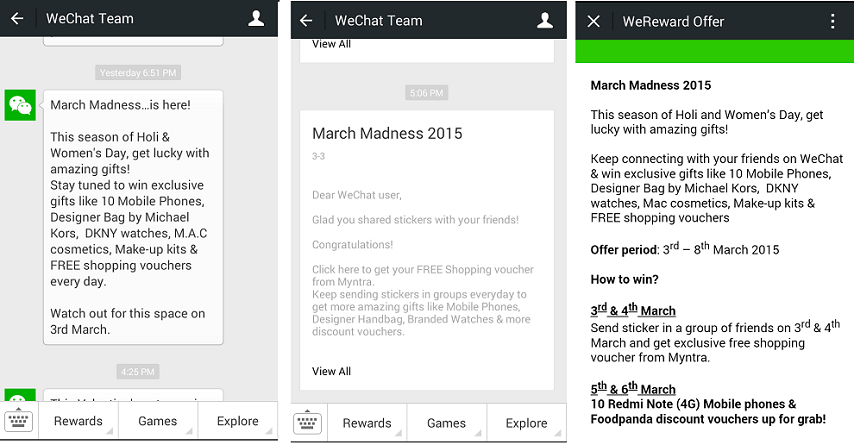 WeChat March Madness win Redmi Note 4G