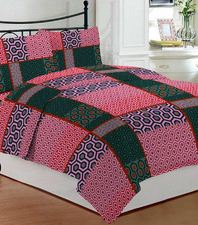 Bombay Dyeing Pink and green polycotton double bedsheet