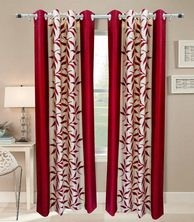 Home Sazz Red polyster floral window curtain
