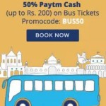 Paytm 50% cashback on bus ticket booking