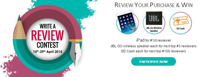 Snapdeal write a review contest