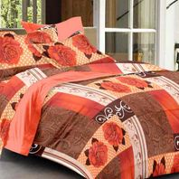 Story home peach cotton double bedsheet