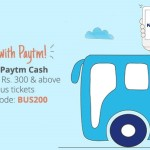 Paytm cashback on Bus Ticket booking Get Rs.200 on Booking of Rs.300 and Above