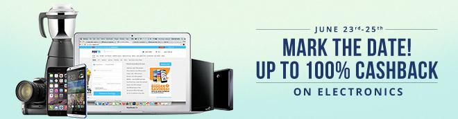 Paytm 100% cashback Electronics Sale