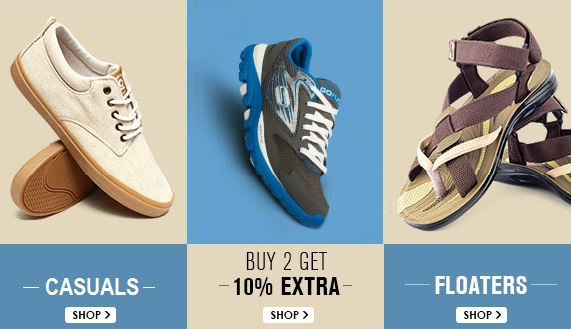 Snapdeal Mens Footwear Offer Buy 2 Get 10 percent Off