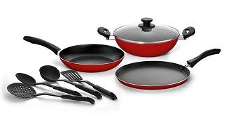 Snapdeal Pigeon Non stick Cookware Gift Set 8 Pcs Red