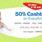 FirstCry Offers : 50% Cashback on Everything for 10 Mins @ 10 AM