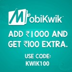 Mobikwik Coupons : Rs.100 Cashback on Adding Rs.1000 to Wallet