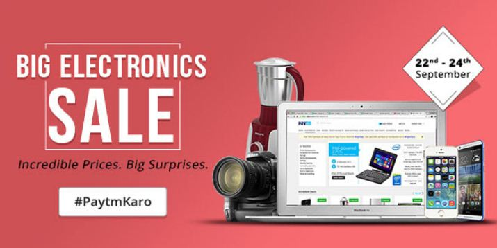 Paytm big electronics sale september
