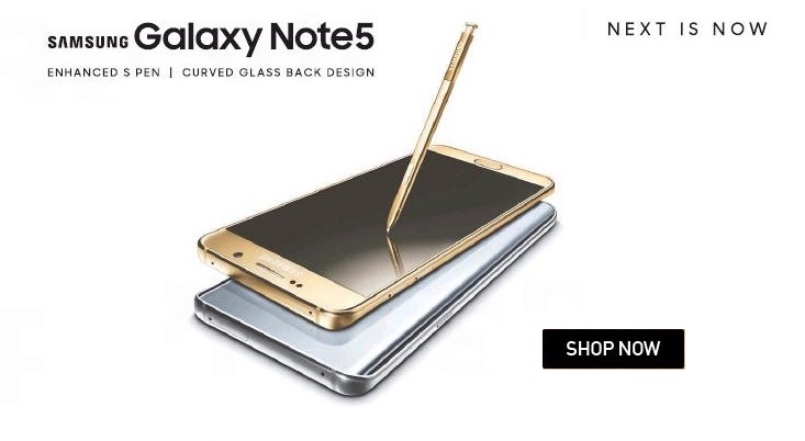 Samsung Galaxy Note 5 available on Flipkart