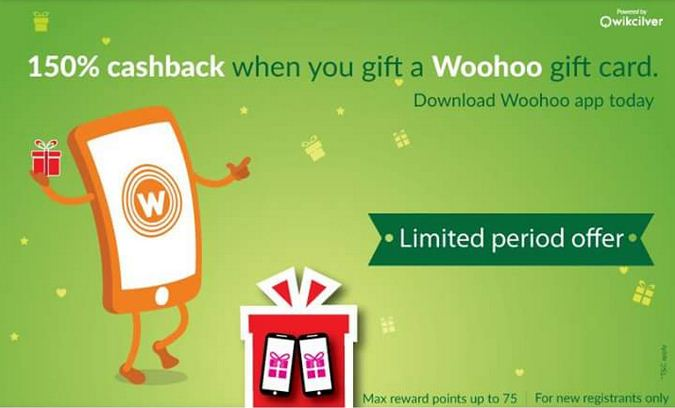 Woohoo new user offer 150 cashback