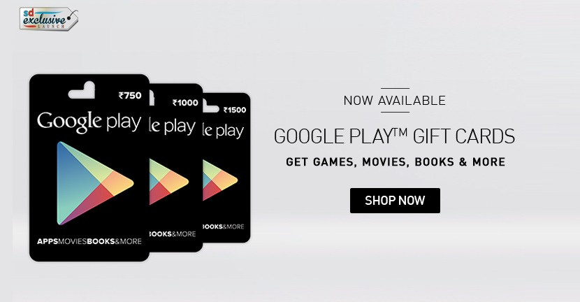 google play gift cards on Snapdeal