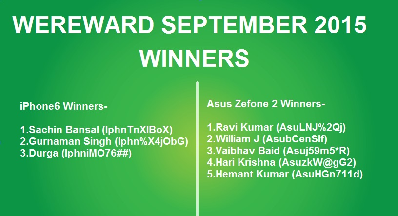wechat wereward september winners list