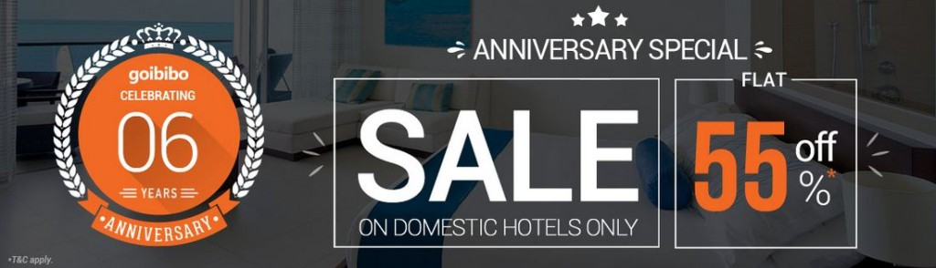 Goibibo anniversary sale 55 off