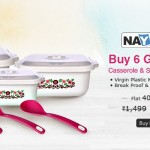 Nayasa Casseroles Square Printed – Buy 6 & Get 6 Free