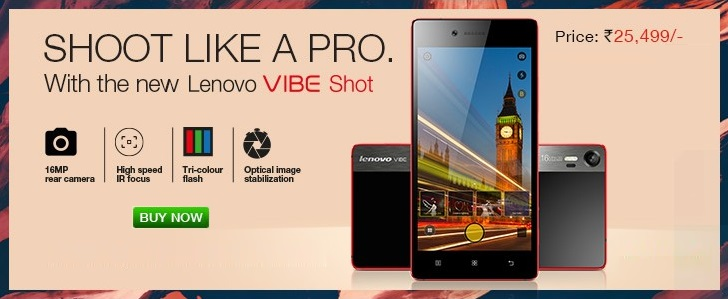 Lenovo Vibe Shot Available Flipkart