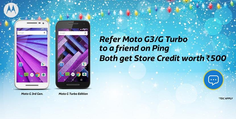 Flipkart Ping Refer Moto G3 and G Turbo