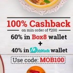 Box8 Promocodes : 100% Cashback through Mobikwik Wallet