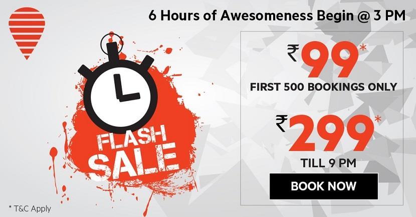 OYO Rooms Flash Sale 3pm