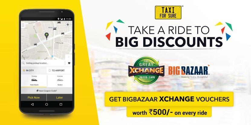 Taxi For Sure Big Bazaar Xchange Vouchers Great Exchange Sale on Big Bazaar Vouchers Worth Rs 500