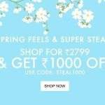 Jabong Spring Super Steals : Get Rs.1000 OFF on purchase of Rs.2799