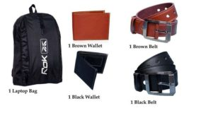 AskmeBazaar Combo Of Laptop Bag With Wallets And Belts