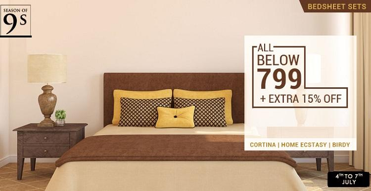 HomeShop18 Season of 9 BedSheet Sets Below 799 Extra 15 OFF
