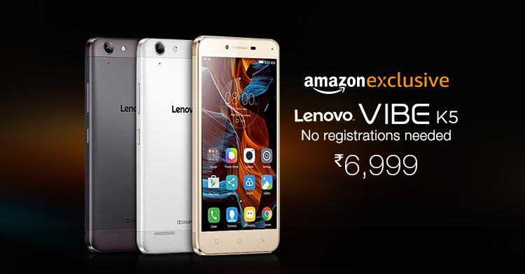 Lenovo Vibe K5 Open Sale on Amazon No registration