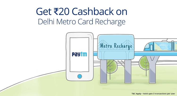 Delhi Metro Card Recharge Offer on Paytm