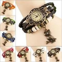 Round Dial Multicolor Leather Strap Womens Quartz Watch