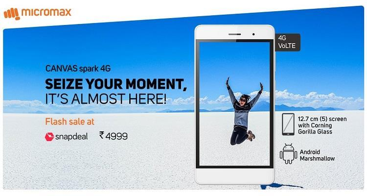 Micromax Canvas Spark 4G Registration Opened for Flash Sale