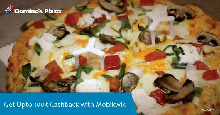 Dominos Pizza Mobikwik Dominos Cashback Mobikwik Cashback Offer on Domino's Pizza - Up to 100% Cashback
